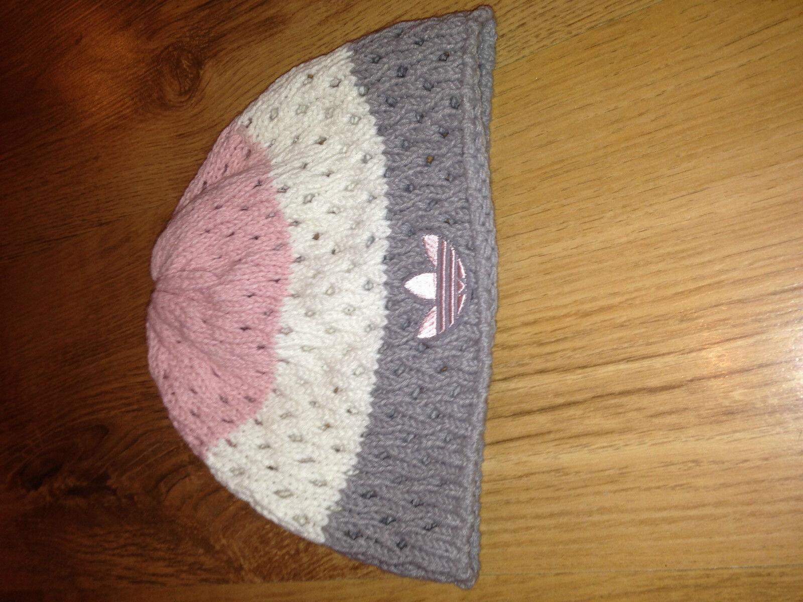 Bonnet femme en coton rose / blanc / gris ADIDAS bon état 100% authentique