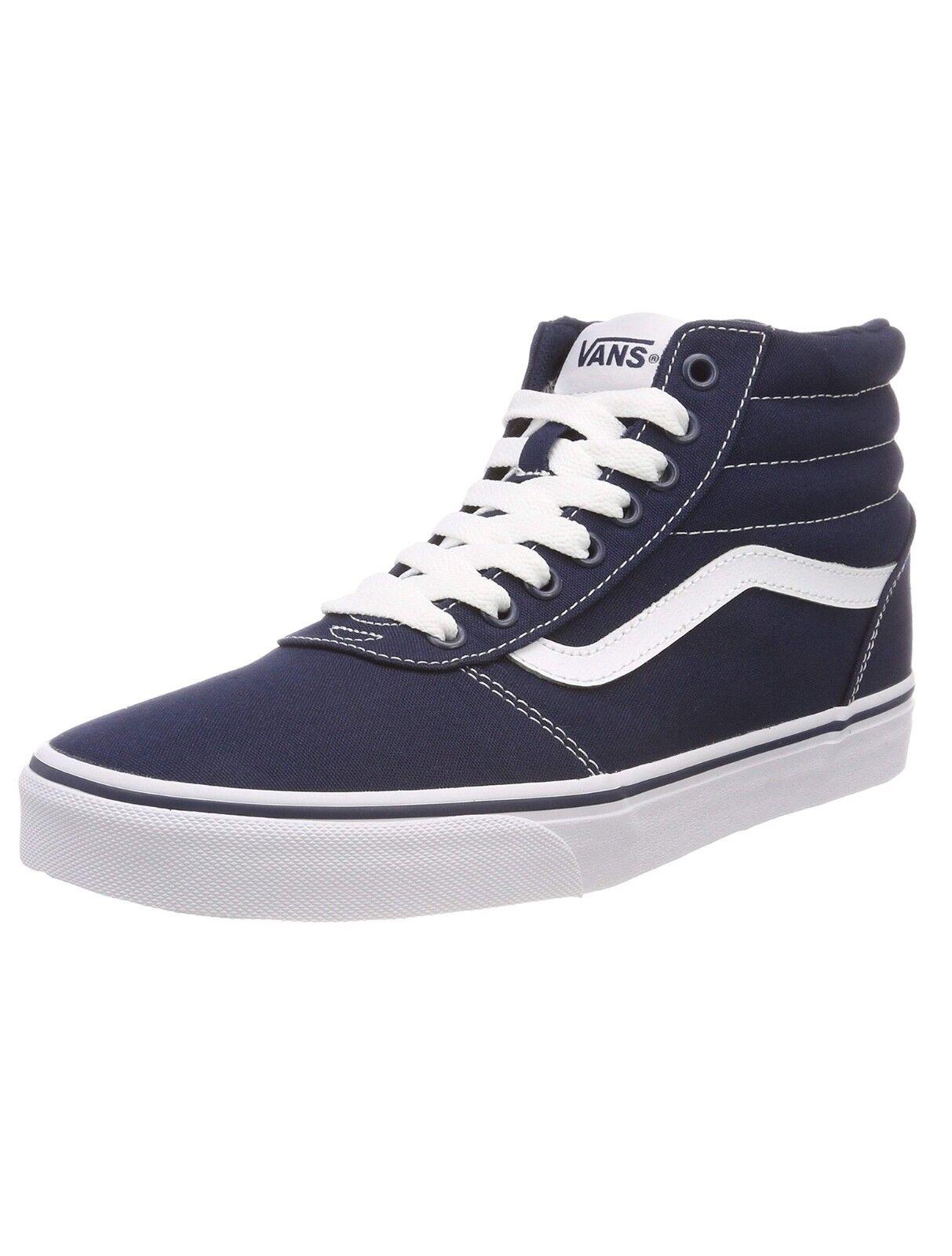 VANS Ward Hi Top Stripe Canvas Fashion Skater Schuhes Casual Trainers Blau Weiß