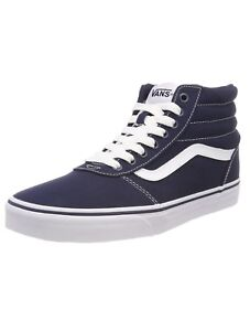 e182527a798 VANS Ward Hi Top Stripe Canvas Fashion Skater Shoes Casual Trainers ...