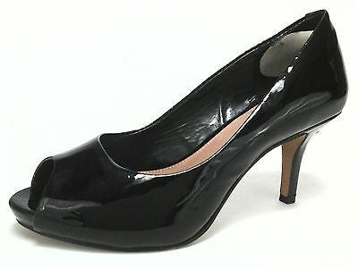 Vince Camuto Heels Black Patent Leather Peep Toe Pumps