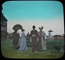 Glass Magic Lantern Slide EDWARDIANS C1910 PHOTO HORSE RACING ?