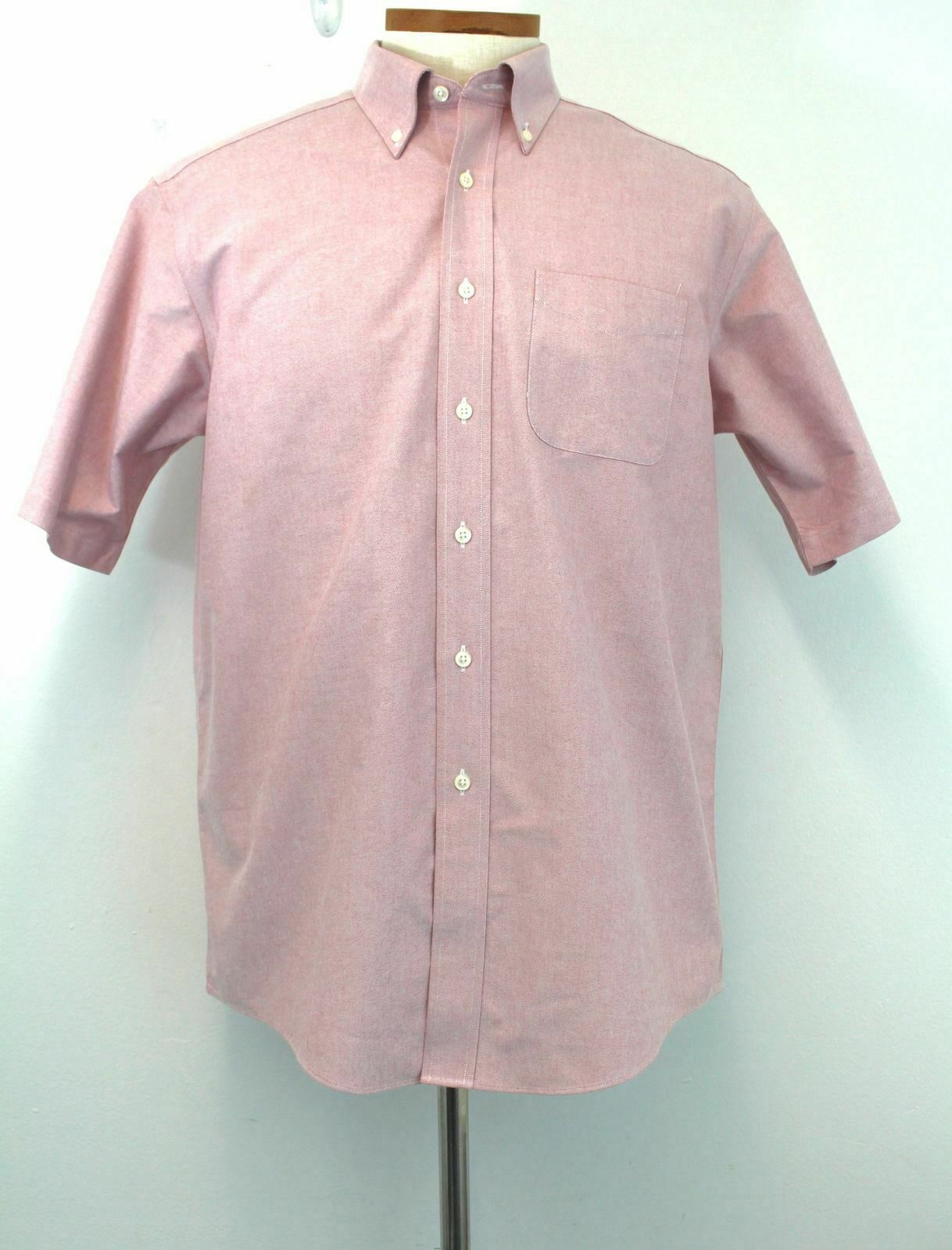 L.L. Bean Shirt 16 Red Men's 100% Cotton Wrinkle Resistant Button Front