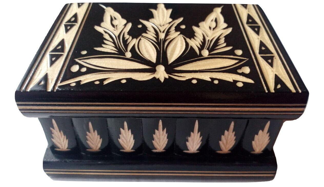 New schwarz wooden wizard jewelry puzzle magic box brain teaser trinket case