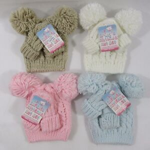 ae220c00cd9 Baby Babies Boys Girls Cable Knit Knitted Pom Pom Gloves Bobble Hat ...