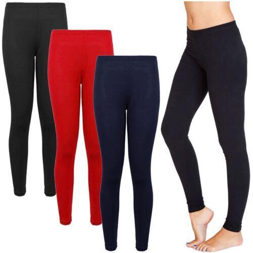 WOMENS LADIES PLAIN FULL LENGTH LONG LEGGINGS STRETCHY ELASTICATED TROUSRS 8-14