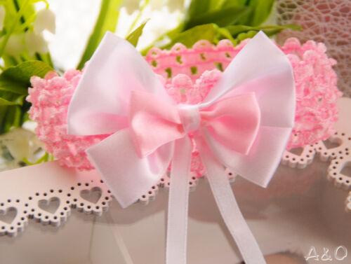 Stirnband Weiß Rosa Baby Haarband Haarschmuck NEU Taufe Schleife Kopfband ab 0M