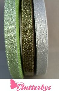 Quality-Organza-sparkly-ribbon-5-metres-x-1cm-wide-green-gold-black-silver