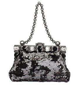 0e0207c22b60 NWT DOLCE   GABBANA Black Crystal Sequined Bag VANDA Shoulder Clutch ...