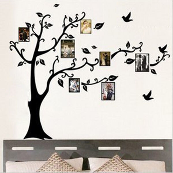 Room Decor Photo Frame Black Tree Removable Decal Vinyl Mural Wall Sticker DIY