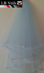 Blue-Wedding-Veil-2-Tier-Ribbon-Edge-Hip-Waist-Length-Pink-Red-LBV184-LBVeils-UK