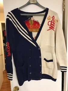 71d4cd3d2ad89 Vtg 90s Berek Marta D Cardigan Sweater Hand Knit Ship Crown Anchor ...
