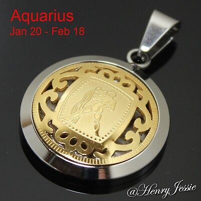 MEN WOMEN Stainless Steel Silver Gold 12 Zodiac Signs Horoscope Charm Pendant
