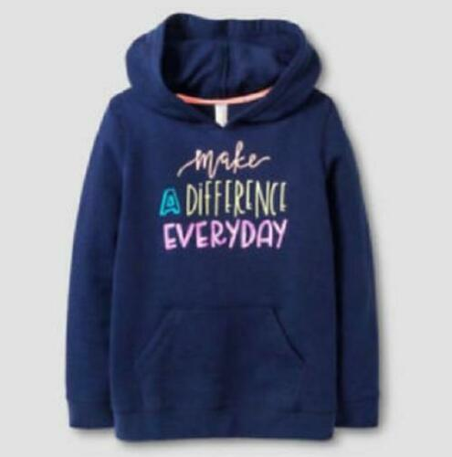 """Cat /& Jack Girls/' Blue Pullover Hoodie Size L /""""Make A Difference Everyday/"""""""