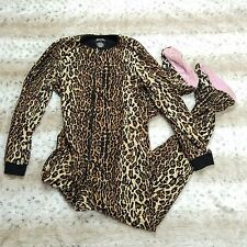 Nick and Nora Footed Foot Pajamas One Piece Leopard Cheetah Print Women Sz S F33