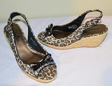 MONTEGO BAY CLUB leopard-print canvas espadrille wedge slingback shoes, size6