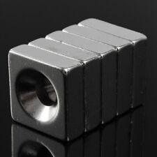 5pcs N52 Square Super Strong Magnets Mini Rare Earth Neodymium Hole Us 15x15x5mm