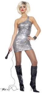 Image is loading 80-039-s-Diva-Pop-Rock-Star-Tina-  sc 1 st  eBay & 80u0027s Diva Pop Rock Star Tina Turner Silver Sexy Dress Up Halloween ...