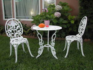 Cast Aluminum Outdoor Patio Furniture 3 Piece Bistro Set E