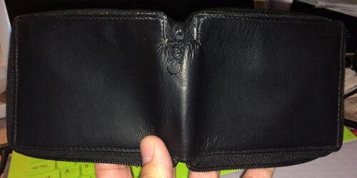 Black Men/'s Genuine Leather Bifold Wallet Credit Card ID Zip Around Coin Holder