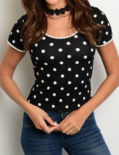 Polka Dot Cap Sleeve Top S M L Black or Coral