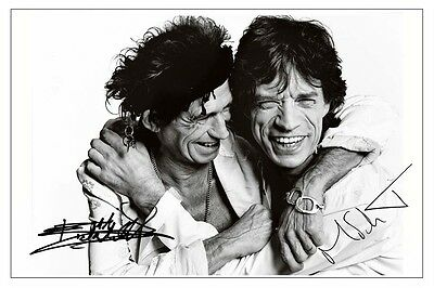 MICK JAGGER /& KEITH RICHARDS SIGNED PHOTO PRINT AUTOGRAPH THE ROLLING STONES