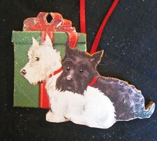 Scotties Wooden Christmas Ornament Black White Scotty Dog Lover's Gift, 1950s