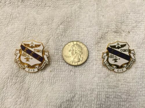Set of 2 Sigma Sigma Sigma Lapel Pins Gold Plated Butterfly Clutch Back RARE!!!