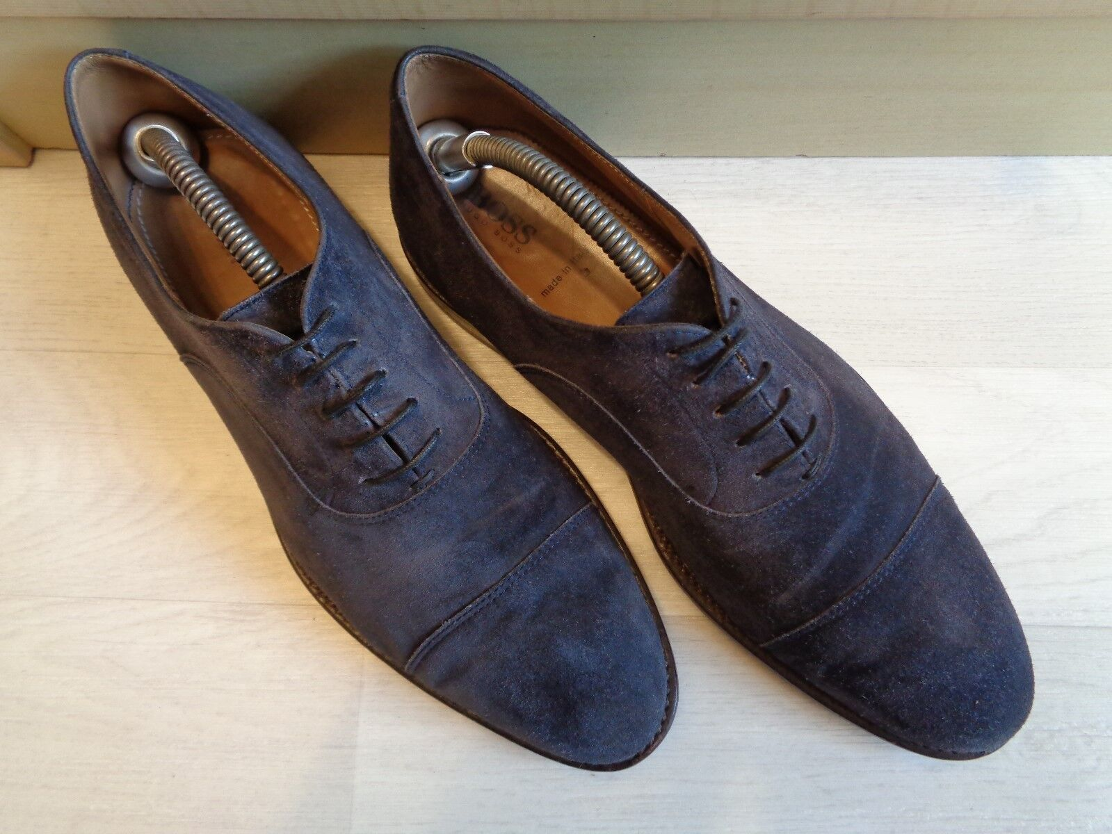 Hugo Boss Boss Boss navy suede oxford UK 8 42 mens full leather cap toe business lace up  163784