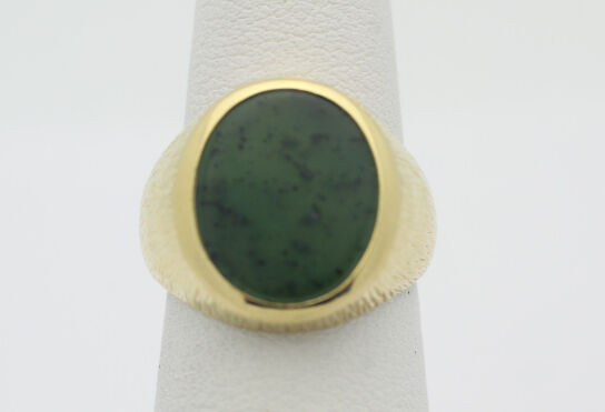 18k Yellow gold YG Classic Simple Green Agate Textured Ring Size 4.5 6.6g F208