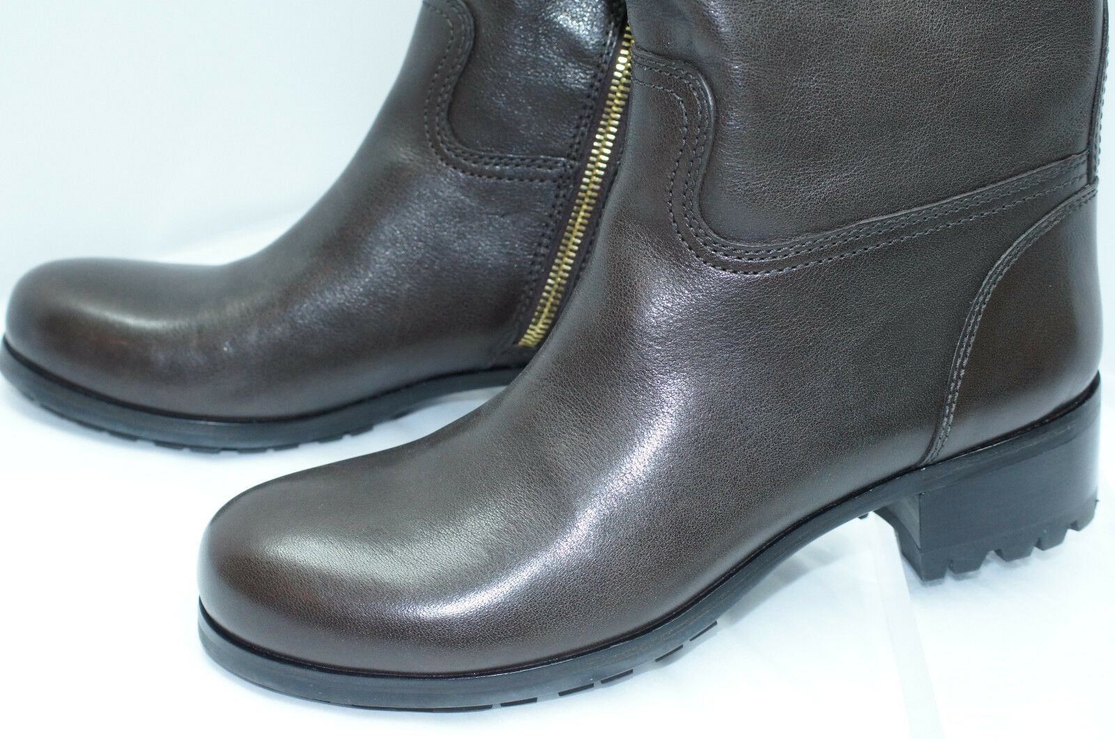 New Prada Womens Boots Knee High Brown Rain Size 39 Leather Shoes