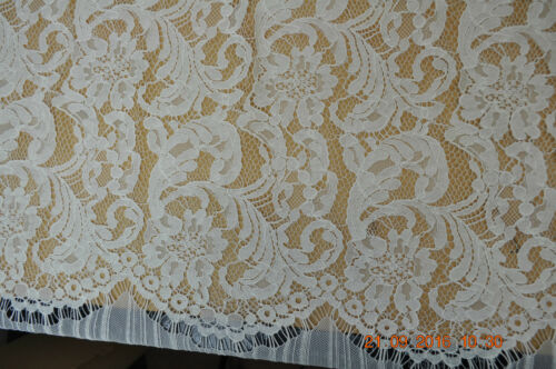 Scallop edged corded lace 140 cm wide cream sold by half meter