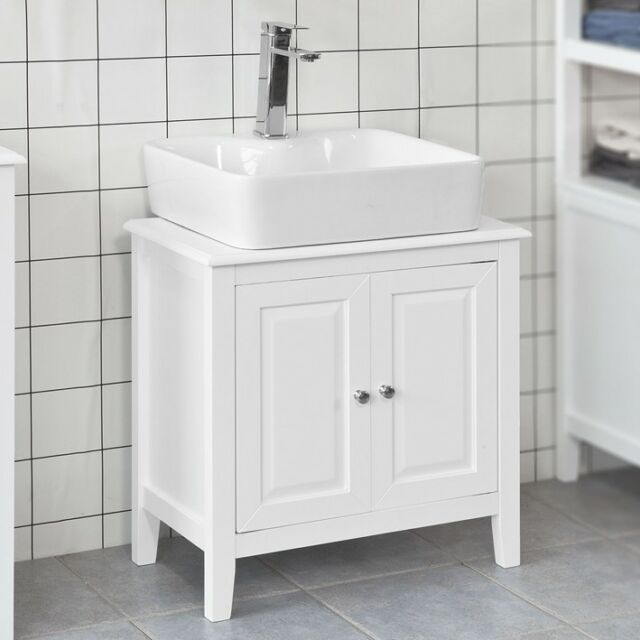 Sobuy White Wood Under Sink Basin Bathroom Storage Cabinet Unit