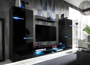 Details About Living Room High Gloss Furniture Set Display Wall Unit Modern  TV Unit Cabinet