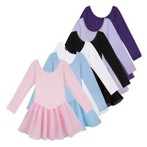 US-Girls-Long-Sleeve-Ballet-Dress-Child-Gymnastic-Leotard-Dancewear-Tutu-Costume