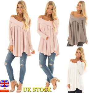 Women-Cold-Shoulder-Frill-Jersey-Loose-Blouse-Winter-Pullover-Strappy-Tunic-Tops