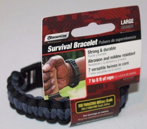 SecureLine Lehigh Survival Bracelet Military Grade Nylon Paracord Large Black