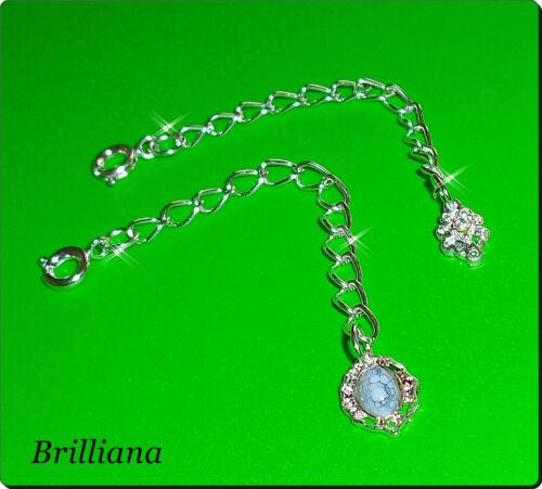 2* Verlängerungsketten silber süsse Perlen Howlith und Kristall Federringversch