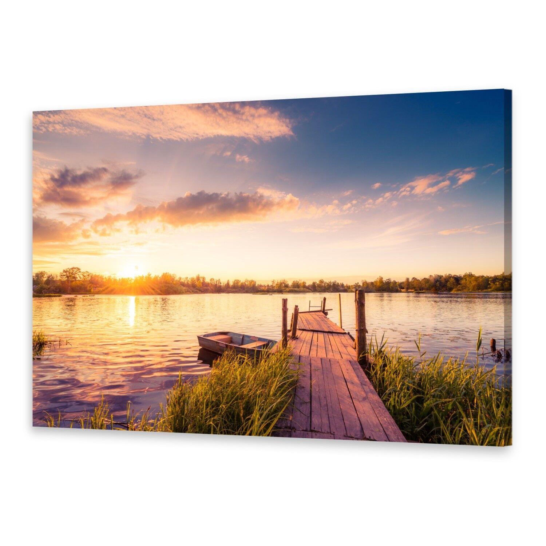 Leinwand-Bilder Wandbild Druck auf Canvas Kunstdruck Sonnenuntergang See