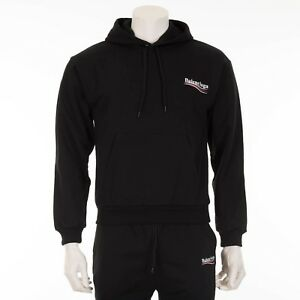 006b9ca6f4162 Image is loading BALENCIAGA-750-Black-Balenciaga-Logo-Print-Hoodie-Sweater