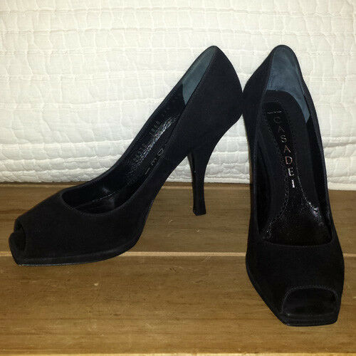 CASADEI BLACK FINE WOMEN'S SUEDE OPEN TOE WOMEN'S FINE TALL HEELS MADE IN ITALY U.S. 5.5M 0aaea9