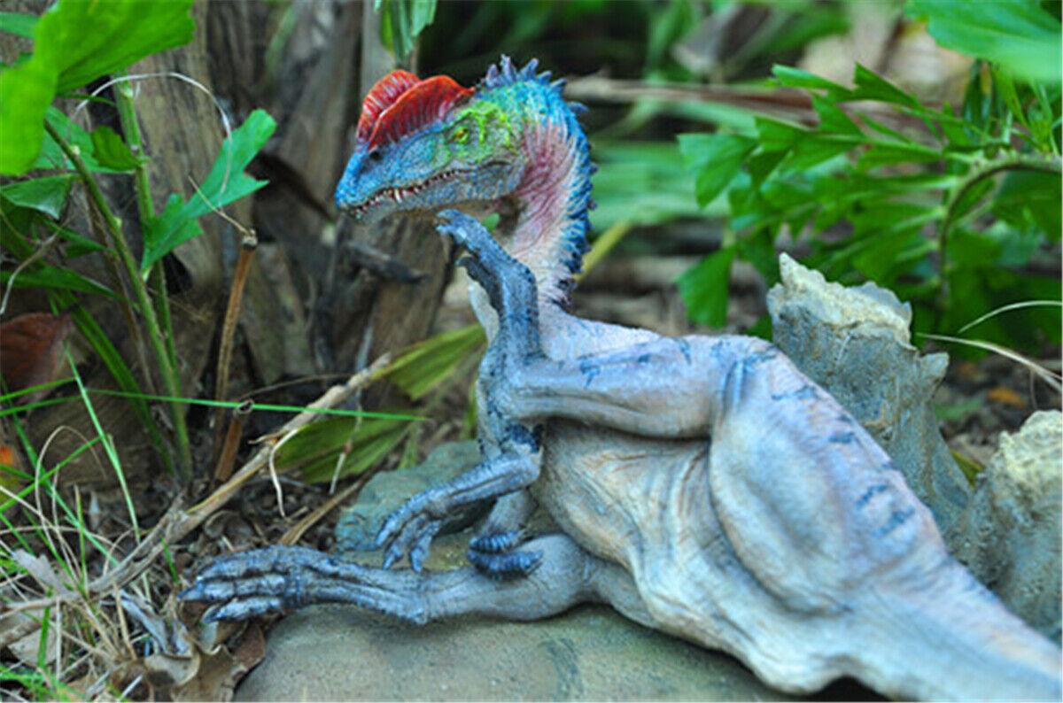 Estatua Figura de dinosaurio Dilophosaurus Modelo Decoración de coleccionista de Base GK Regalo twoColor