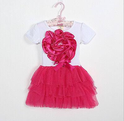 Kids Girls Sleeveless Princess Flower Lace Dresses Pleated Tutu Skirt 2-5 Years