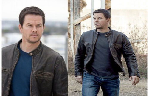 Contraband Mark Wahlberg/'s Mens Slim Fit Distressed REAL Leather Jacket