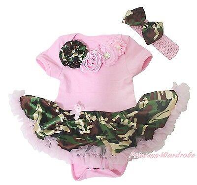 Elegant Rose Light Pink Bodysuit Camo Camouflage Girls Baby Dress Outfit NB-18M