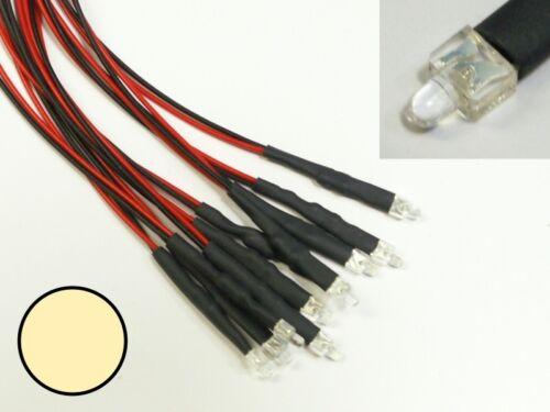 S877-5 pezzi 2mm LED bianco caldo chiaro con Cavo per 12-19v finito LED cablati