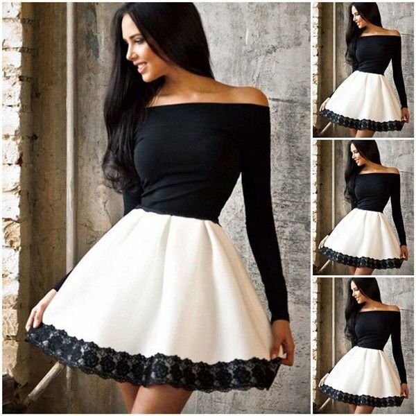 Sexy Women Lace Casual Long Sleeve Cocktail Evening Party Dress Short Mini Dress
