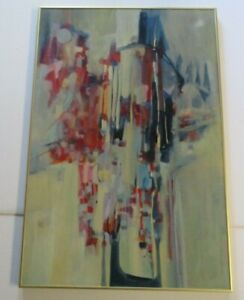 CONNORS-PAINTING-ABSTRACT-COLORFUL-MODERNISM-VINTAGE-EXPRESSIONISM-LARGE-OIL