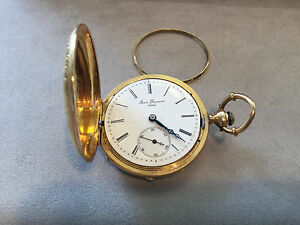 Antique-1800s-Louis-Reymond-Locle-18K-solid-Yellow-Gold-Swiss-Pocket-Watch