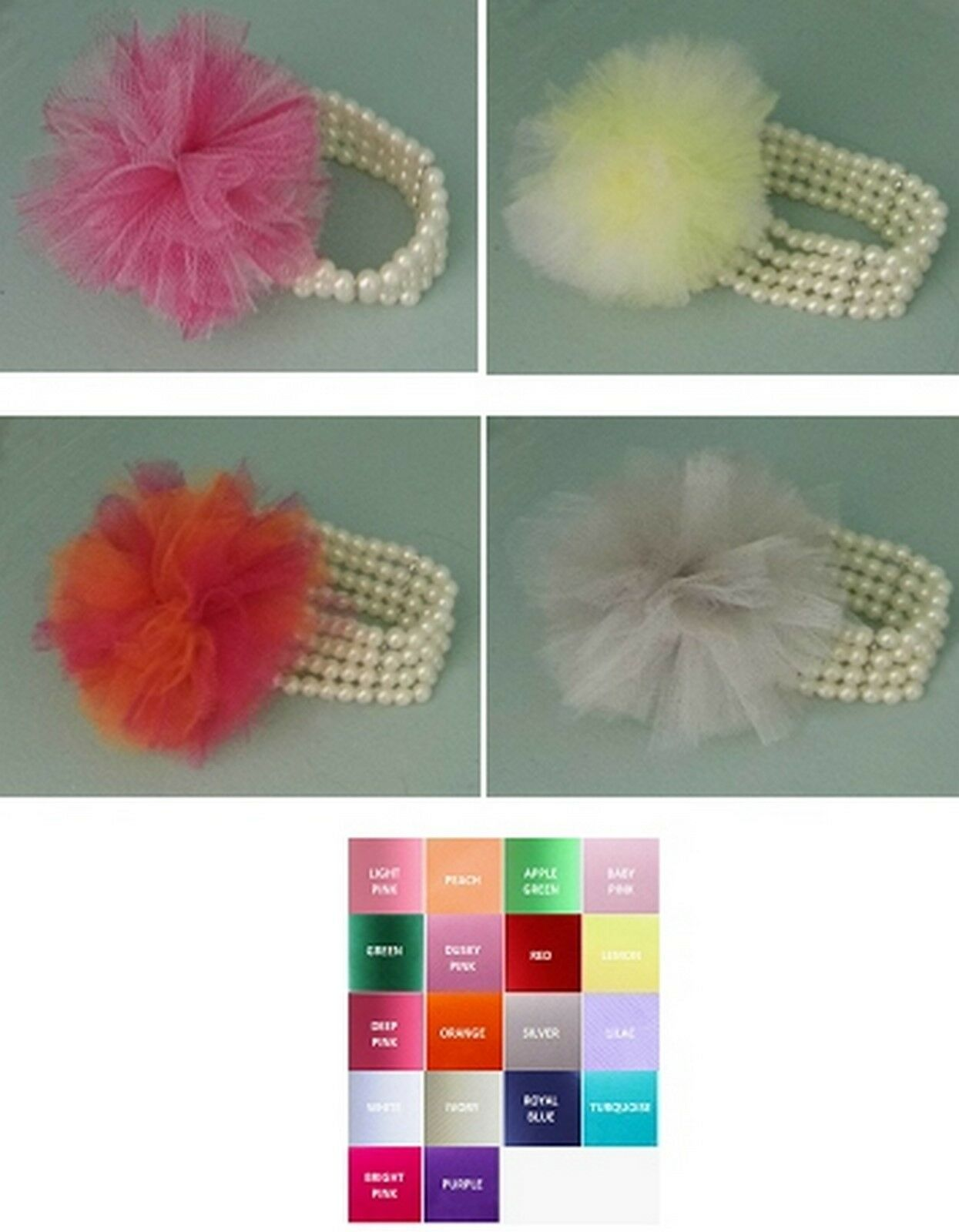Tulle Corsages Shoeclips & Fascinators avail. choose your colours wedding prom