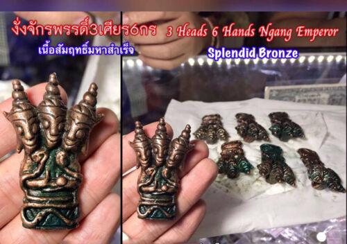 3 Heads 6 Hands Ngang Emperor Splendid Bronze LP Ajarn O Thai Amulet love charm